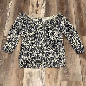 Lucky Brand Tops - Lucky Brand Navy & White Floral Stretch collar